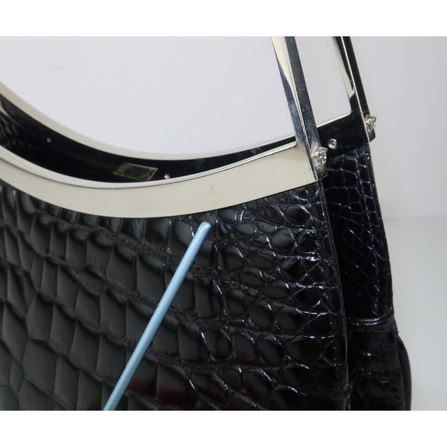 Vintage Versace Black Croc Embossed Leather Handbag With Unique Handles For Sale - Image 12 of 13