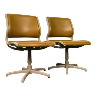 Gold Vinyl Steel Based Mid-Century Modern Chair ~ a Pair For Sale
