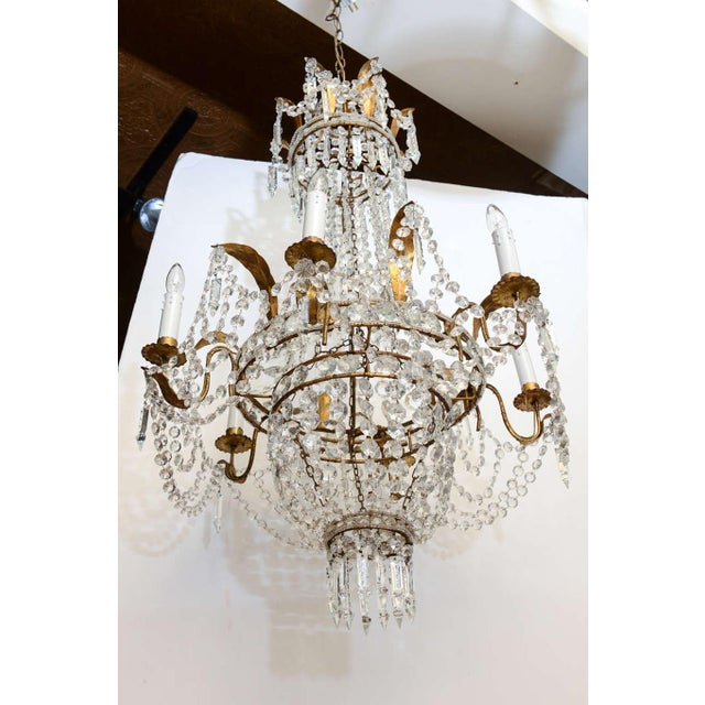 Early 20th Century Empire Form Crystal Chandelier For Sale - Image 5 of 10