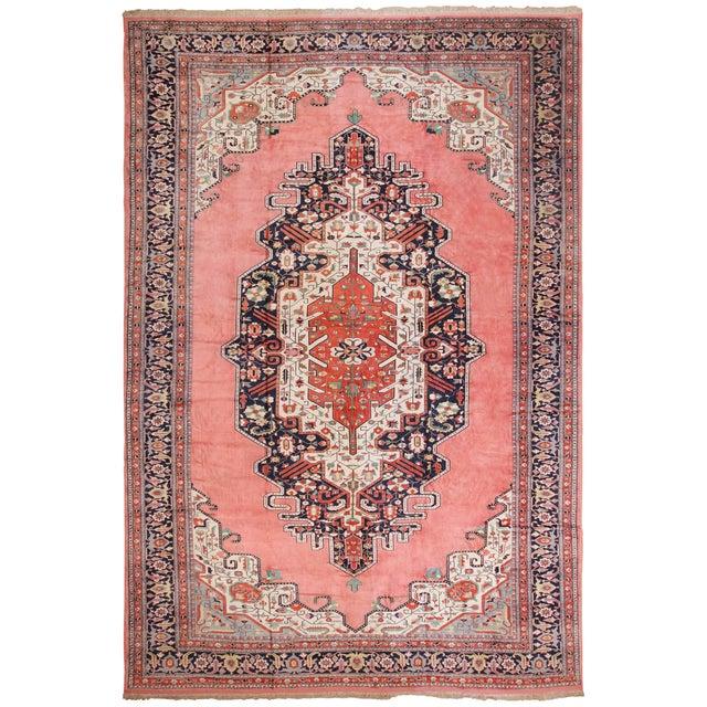 Large Vintage Persian Silk Heriz Rug - 13′1″ × 19′ For Sale - Image 11 of 11