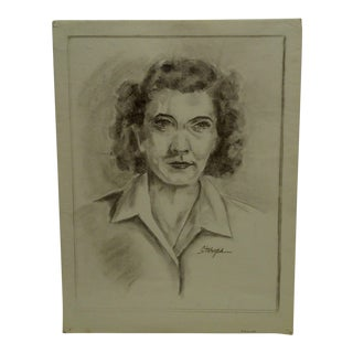"1949 Mid-Century Modern Original Drawing on Paper, ""Somebody Famous"" by Tom Sturges Jr"
