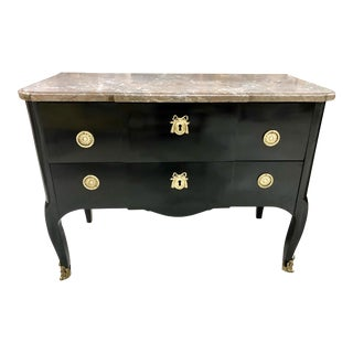 Louis XVI Style Black Lacquered 2 Drawer Commode For Sale
