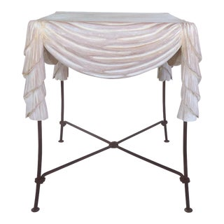 Carved Draped Wood & Iron Side Table