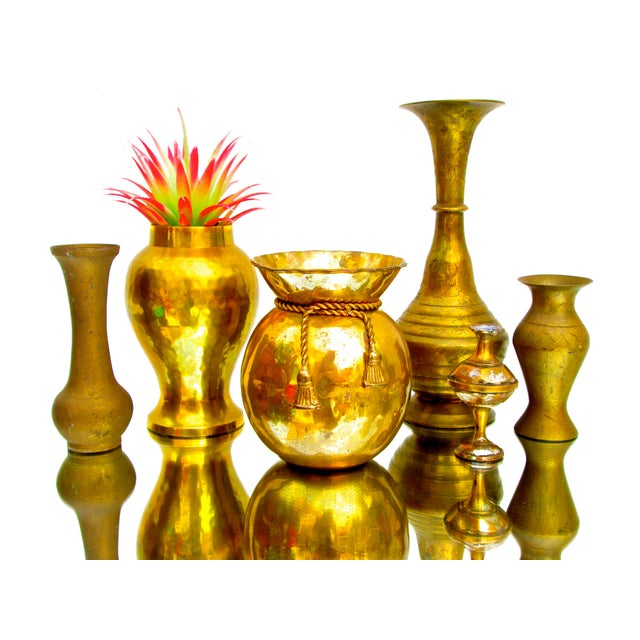 Vintage Brass Bud Vases - Set of 5 For Sale - Image 4 of 8