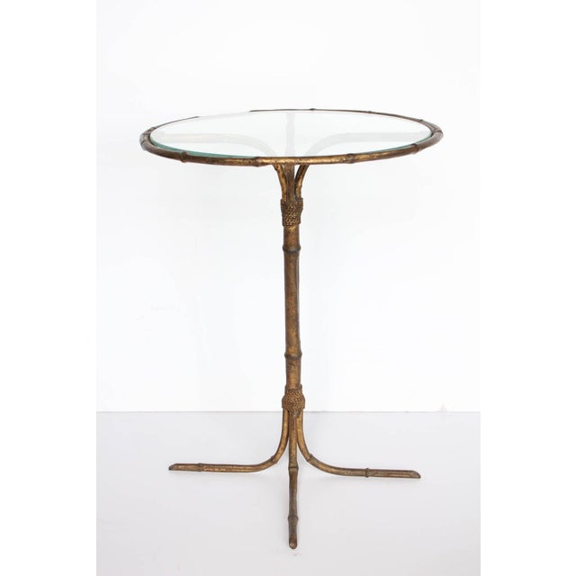 1980's Vintage Italian Gold Leaf Martini Table For Sale - Image 4 of 4
