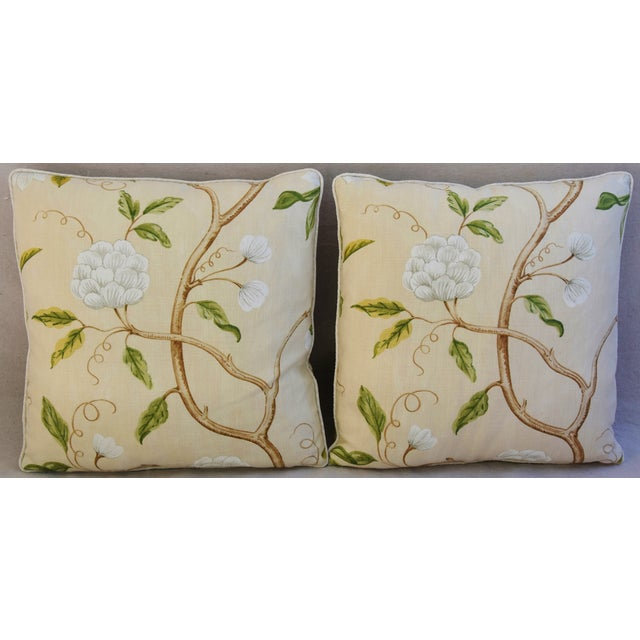 Contemporary Designer Cowtan & Tout Snow Tree Linen Pillows - A Pair For Sale - Image 3 of 6