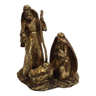 Gold Leaf Nativity Scene Sculpture
