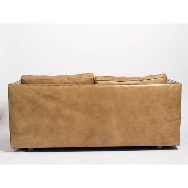 Contemporary 1970s Vintage Leather Nailhead Cube Settee For Sale - Image 3 of 10