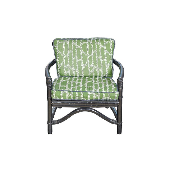 Wood Vintage Bamboo Chair With Ferrick Mason's Espalier Reverse - Hedge Fabric For Sale - Image 7 of 7