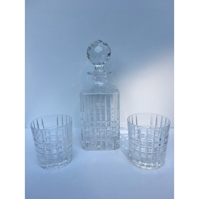 Glass Tiffany & Co. Plaid Decanter & Old Fashion Glasses - Set of 3 For Sale - Image 7 of 8