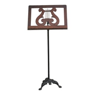 Antique Oak Wood Music Stand With Cast Iron Black Claw Foot Base For Sale