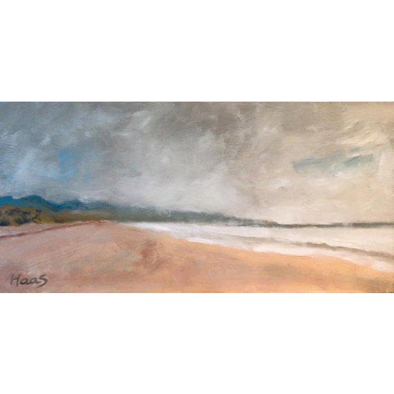 This is a contemporary painting that depicts Limantour Beach, at the Point Reyes Seashore on a foggy day. It is on a...