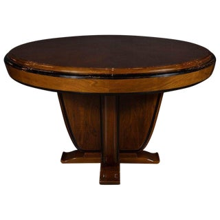 Art Deco Skyscraper Style Walnut & Black Lacquer Dining / Centre Table For Sale