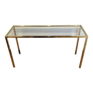 Vintage Design Institute America Brass & Glass Console Table