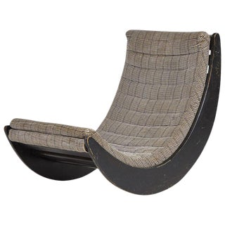 Rocking Ebonized Lounge Chair With Upholstered Print For Sale