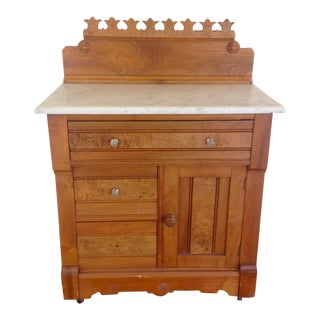 20th Century Boho chic G. Schindler & Co Marble Top Cabinet For Sale