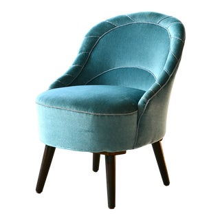 Small Danish Mid-Century Slipper Chair in Turquoise Mohair For Sale