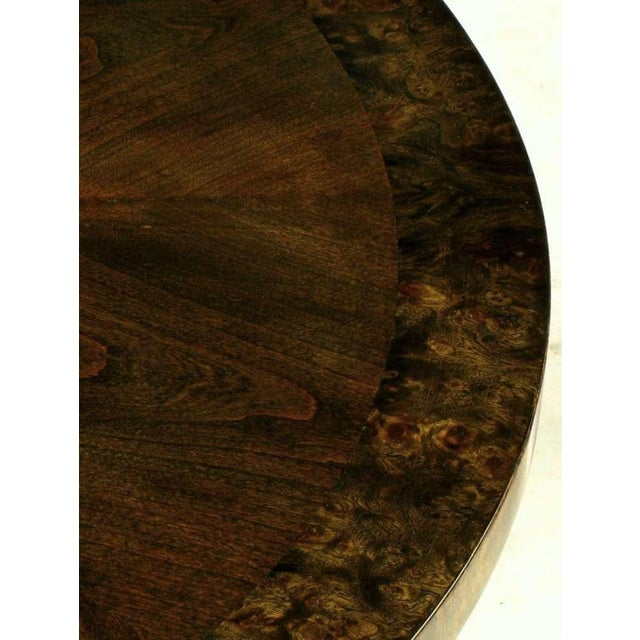 1960s Burled & Figured Walnut End Table With Open Harlequin Base For Sale - Image 5 of 6