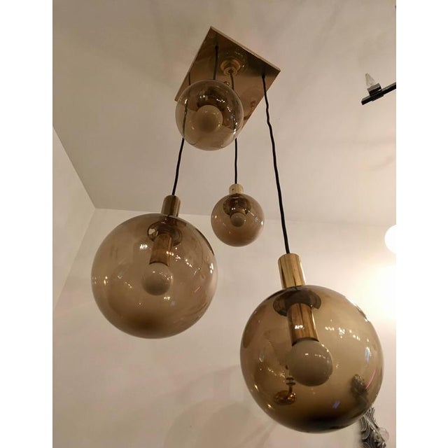 1970s Raak Dutch Smoked Glass Globe Ceiling Light For Sale - Image 9 of 10