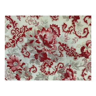 Vintage French Art Nouveau Red Floral Fabric For Sale