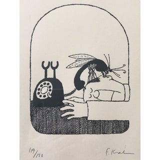 Phone Bug Etching, Framed For Sale