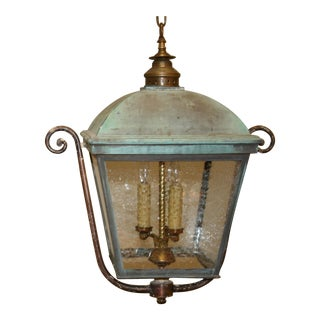 Vintage Brass & Copper Lantern For Sale