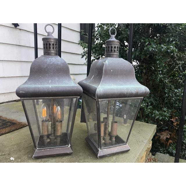 Solid bronze outdoor lanterns by georgian art lighting of lawrenceville, GA and Underwriters laboratories. Naturally aged,...