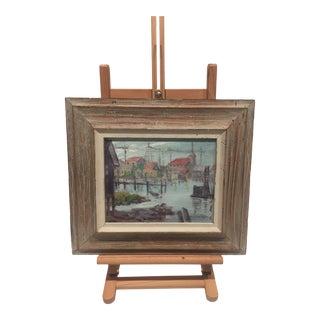 Mid 20th Century Impressionist Gloucester Harbor Oil Painting