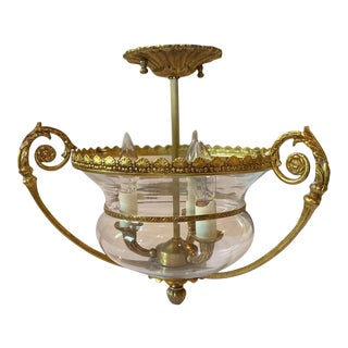 Late 20th Century Decorative Brass and Blown Glass Urn Pendant Light For Sale