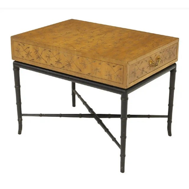 Asian Kittinger Thistle Incised Faux Bamboo Side Table For Sale - Image 3 of 6