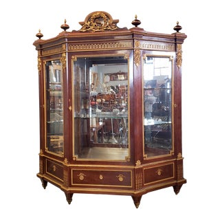 Important French Louis XVI Style Guillaume Grohe Paris Dore Gilt Bronze & Mahogany Armoire Vitrine Cabinet C1860 For Sale