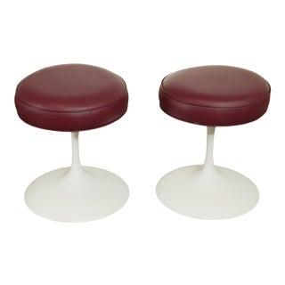 Mid Century Modern Eero Saarinen Style Pair Swivel Tulip Stools For Sale