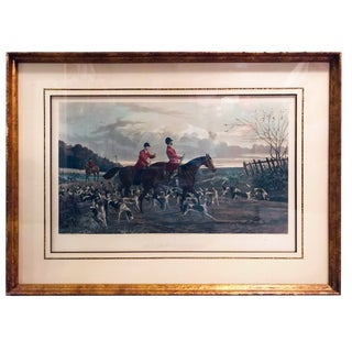 """Returning to Kennel"" Hand Colored Hunting Scene Engraving by Sheldon Williams For Sale"