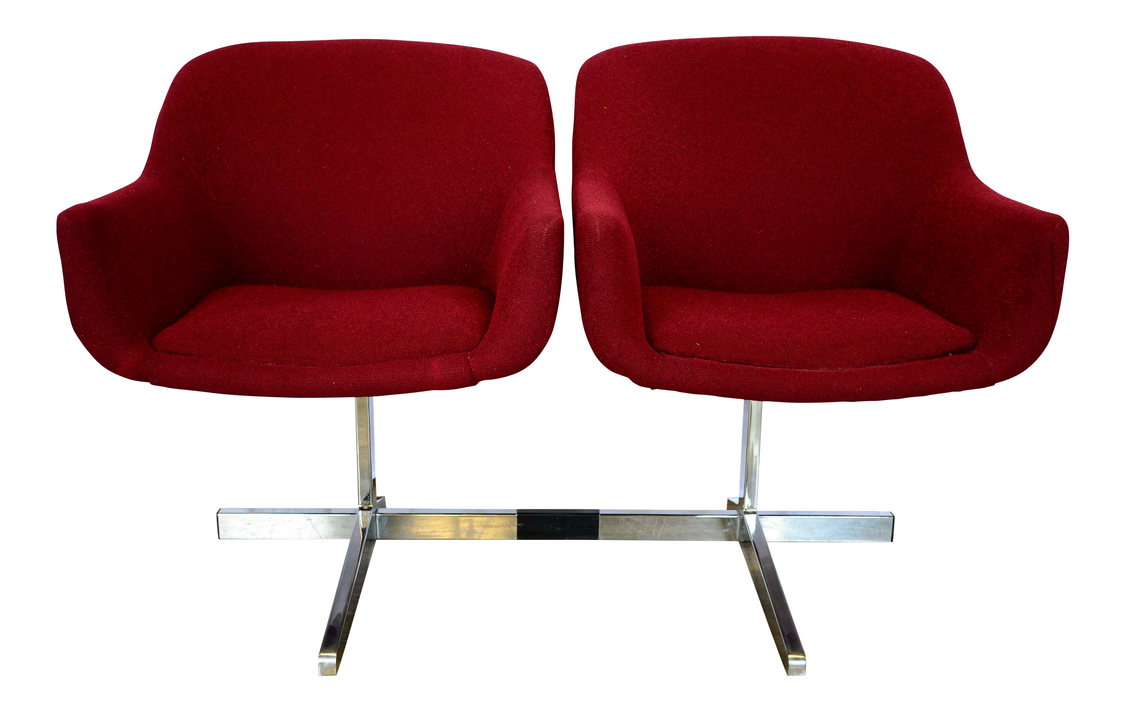 Incroyable Eero Saarinen Burgundy Tweed Tandem Side Chairs   A Pair