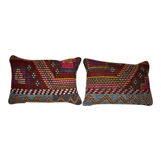 Set of Two Traditional Kilim Pillow Cover, Tribal Home Decor 14'' X 20'' (35 X 50 Cm) For Sale