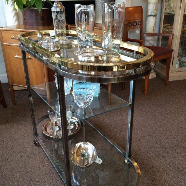 Mid-Century Modern Chrome & Brass Bar Cart - Image 4 of 5