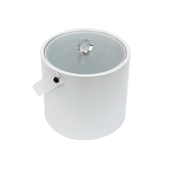 Mid-Century Modern White & Lucite Lidded Ice Bucket For Sale - Image 3 of 4
