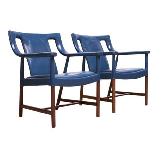 Pair of Danish Blue Leather Armchairs by Ejner Larsen and Aksel Bender Madsen For Sale