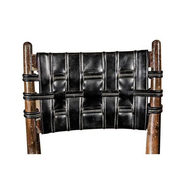 Mid-Century Danish Wood & Chrome Woven Leather Barstools - Set of 4 - Image 6 of 6