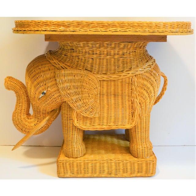 Boho Chic Boho Chic Wicker Rattan Elephant Tray Table (Final Markdown Taken) For Sale - Image 3 of 13