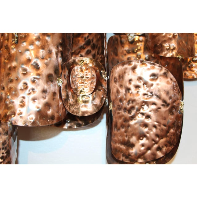 Copper Patinated Brutalist Metal Wall Sculptures- A Pair For Sale In Palm Springs - Image 6 of 9