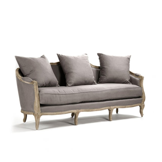 French Country Hollow Maison Sofa in Gray For Sale - Image 3 of 5