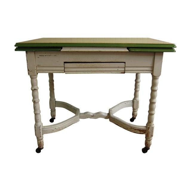 Shabby Vintage Enamel Top Kitchen Work Table