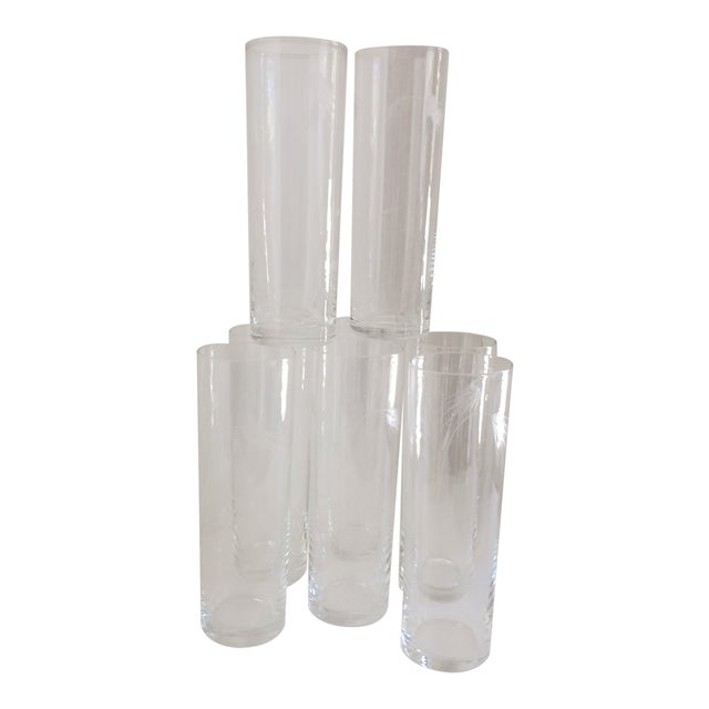 "Noritaki Sasaki Etched Crystal"" Wheat"" Tom Collins Glasses - Set of 8 For Sale"