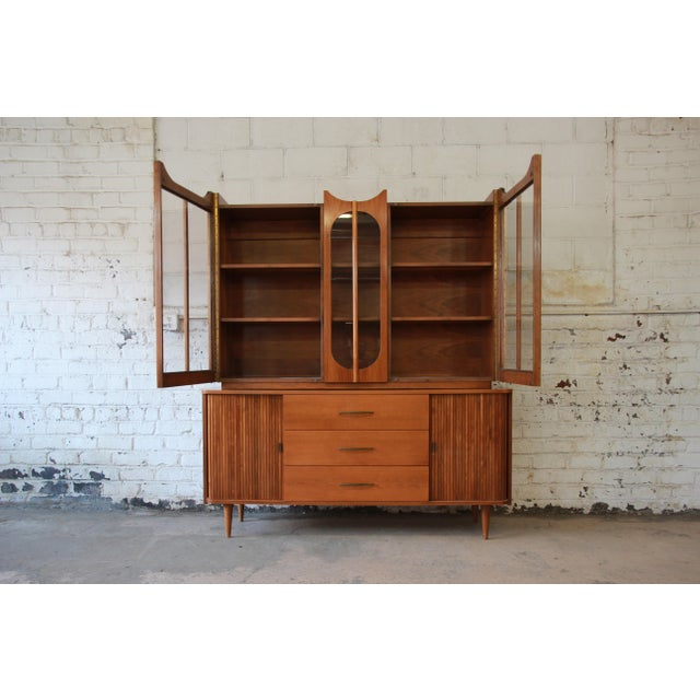 Mid-Century Modern Mid-Century Modern Tambour Door Sideboard Credenza with Glass Front Hutch Top For Sale - Image 3 of 11