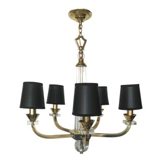 1950s French J. Adnet 5-Light Brass Chandelier For Sale