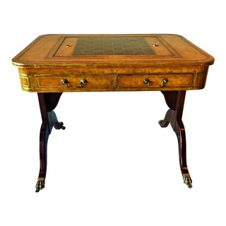 English Regency Style Leather Top Games Table