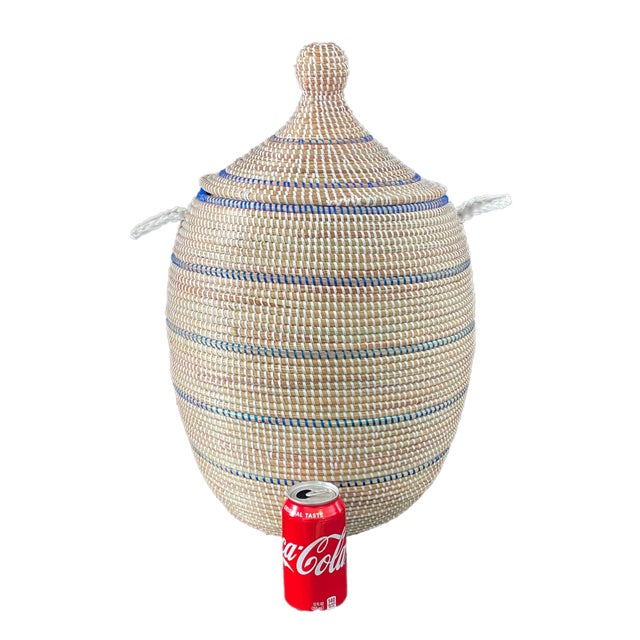 Superb Basket with Lid from Senegal West Africa, could be a laundry hampers and are handwoven by an association of more...