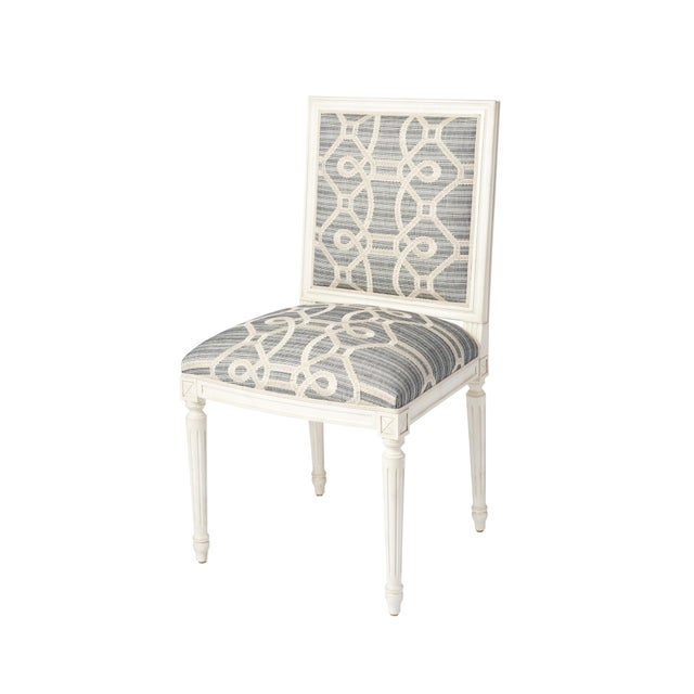 Schumacher Marie Therese Ziz Embroidery Strié Hand-Carved Beechwood Side Chair For Sale In New York - Image 6 of 11