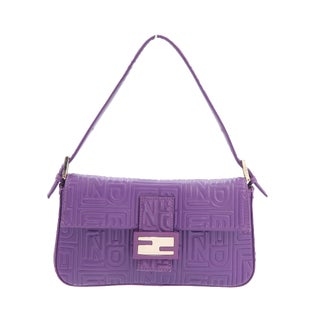 Vintage Fendi Baguette Bag; Purple Embossed Leather For Sale